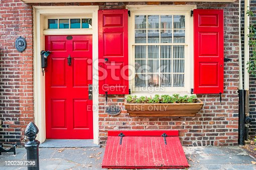 Historic house on Elfreth's Alley in the Old City district of Philadelphia Pennsylvania USA.