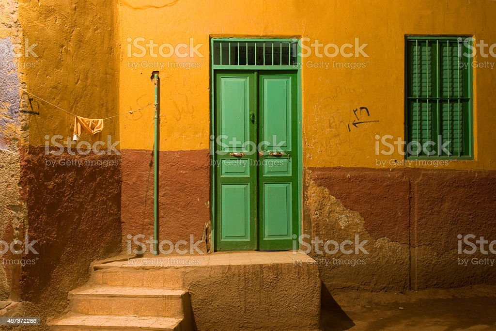 House in old town Aswan at night Private home facade in old town Aswan at night, 2007  2015 Stock Photo