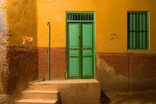 House in old town Aswan at night stock photo