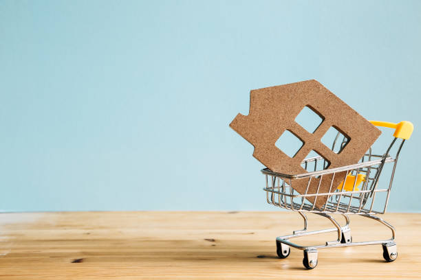 House in shopping cart, Real estate buying a house concept stock photo