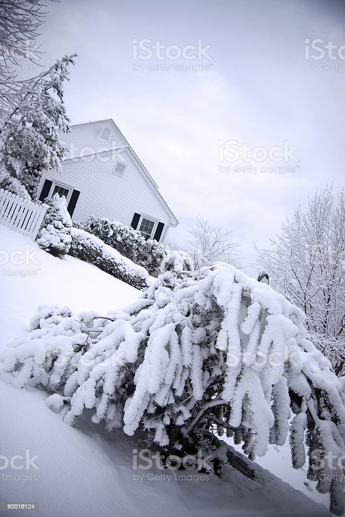 House in snow stock photo