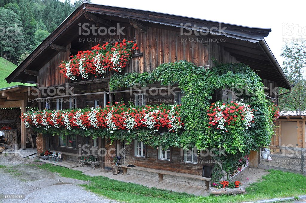 house in the european alps, tyrol royalty-free stock photo