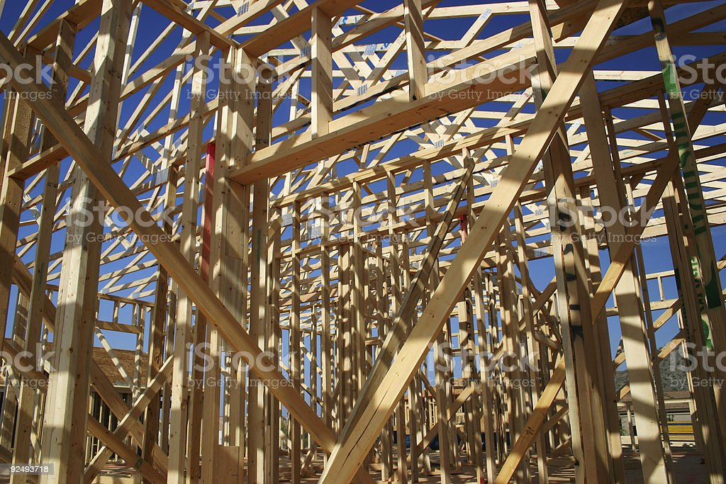 House in the framing stage. royalty-free stock photo