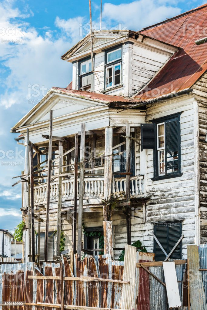 House in the  historic city of Paramaribo, Suriname. The historic inner city of Paramaribo is a UNESCO World Heritage Site since 2002. stock photo