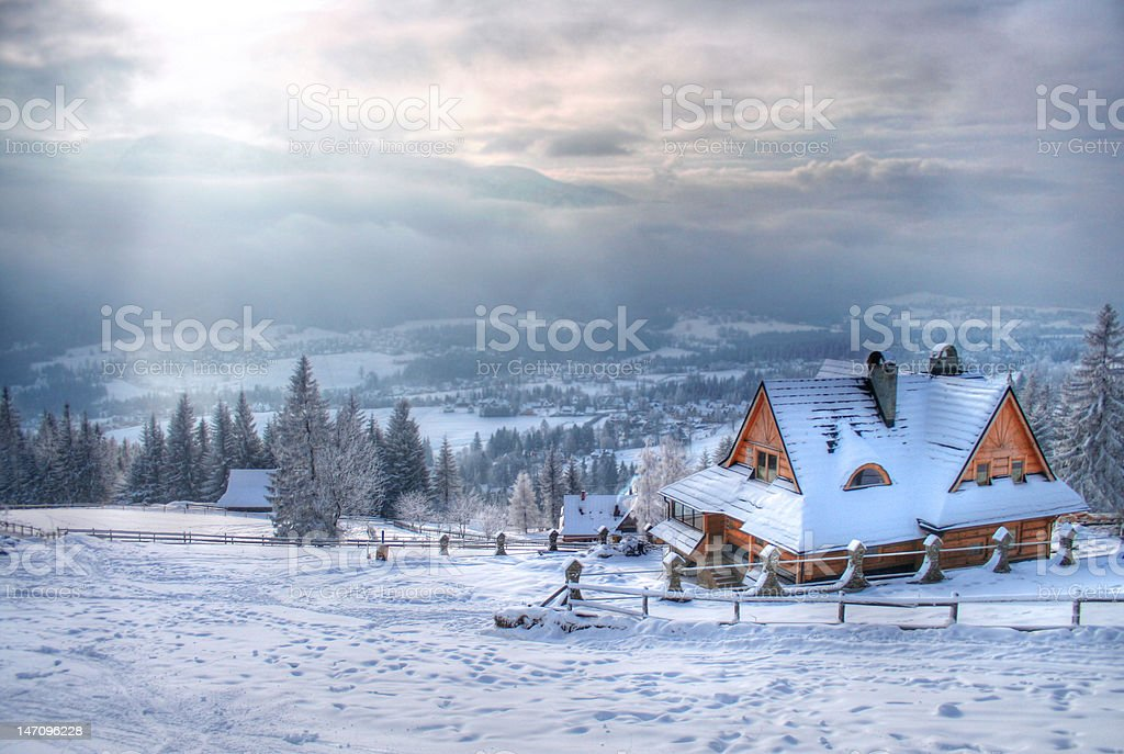 House in the mountain stock photo