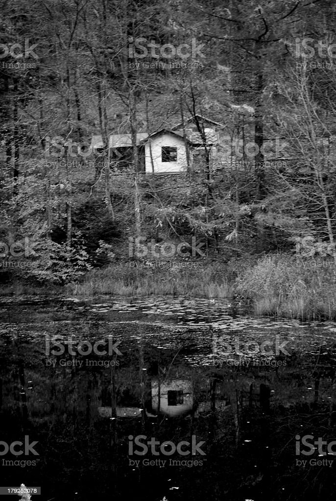 house in the woods royalty-free stock photo