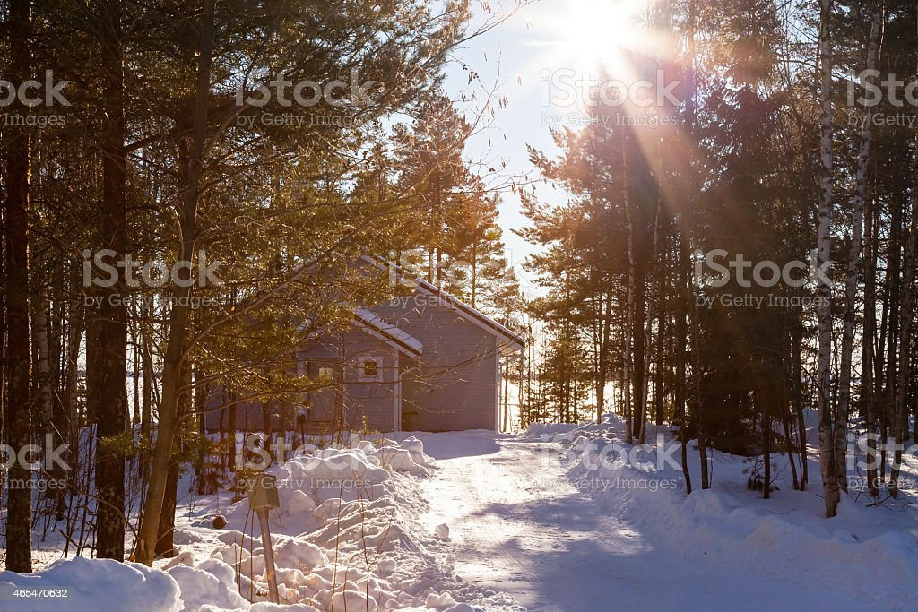 House in winter forest stock photo