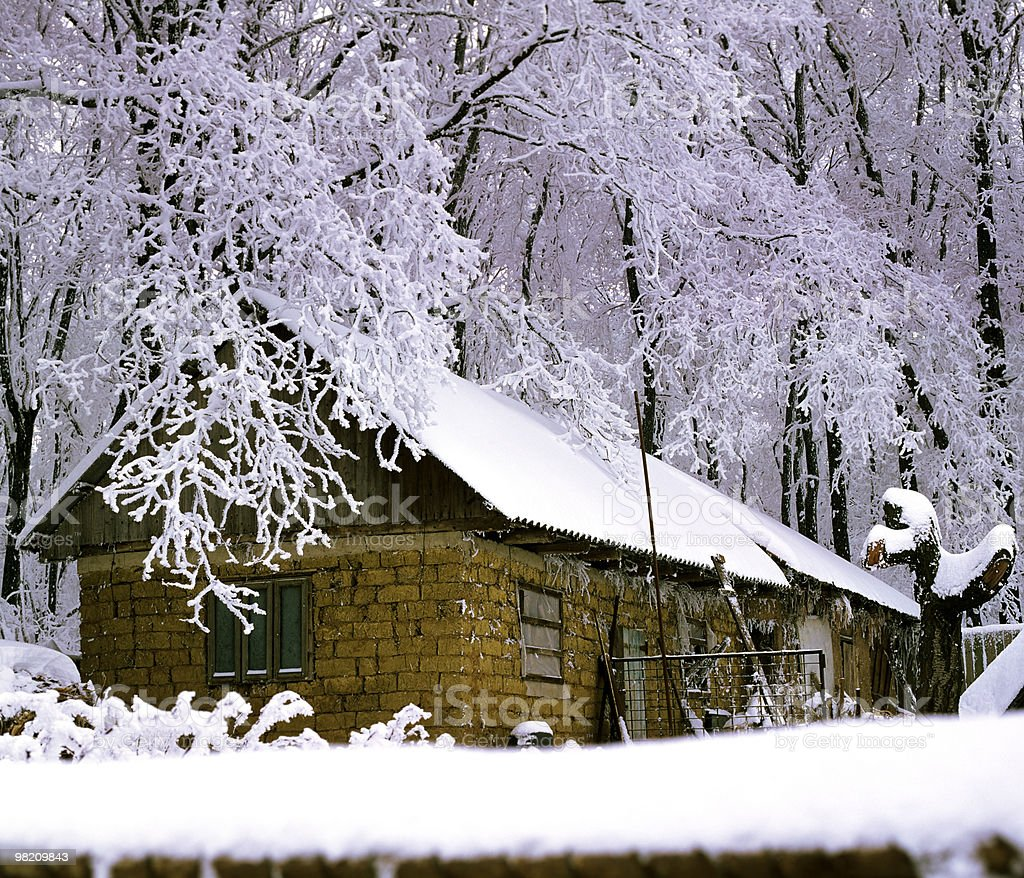 house in winter season royalty-free stock photo