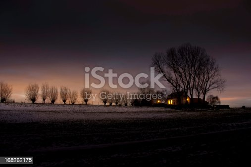 House with trees at dusk in a winter landscape