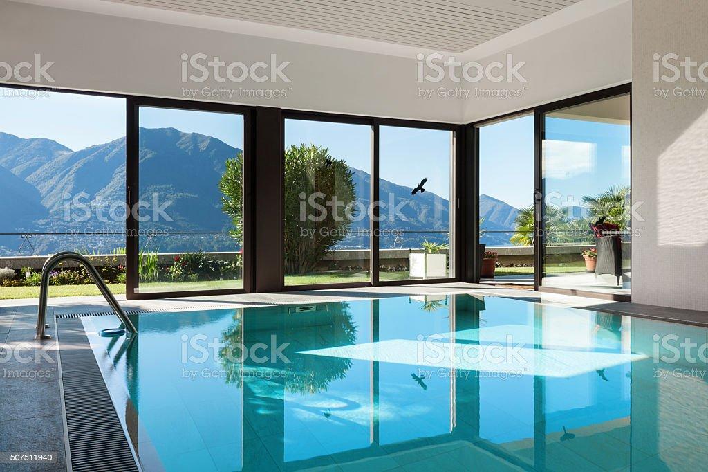 House, Indoor swimming pool stock photo