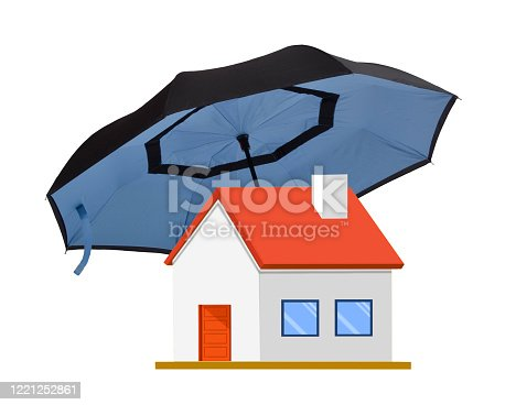 Big umbrella over house on insurance policy concept on white.