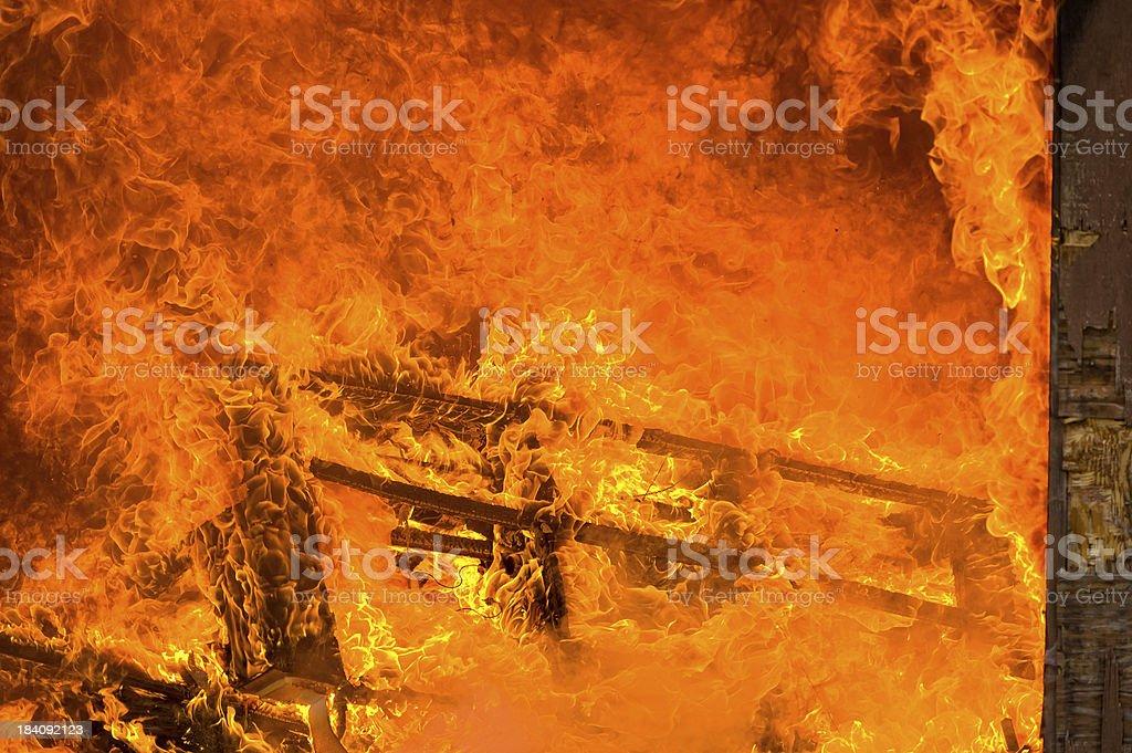 House Interior Burning Fire Inferno stock photo