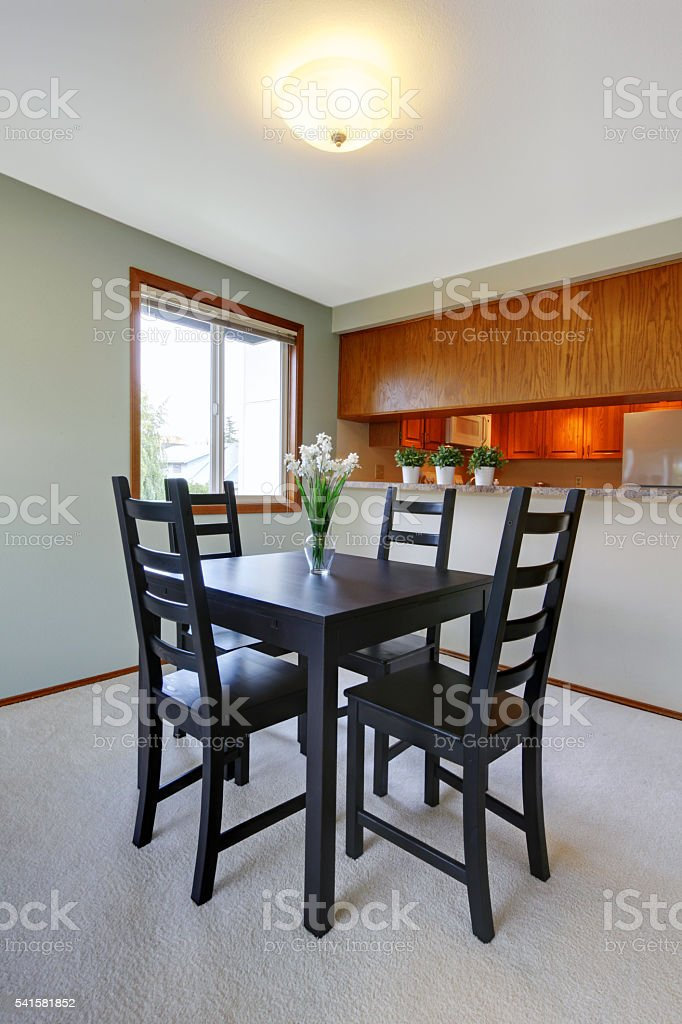 Picture of: House Interior Simple Black Dining Table Set Stock Photo Download Image Now Istock