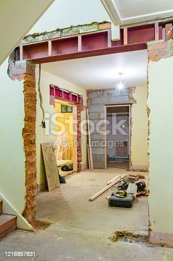 UK house internal renovation and remodeling with new wall opening supported by RSJ universal steel beam