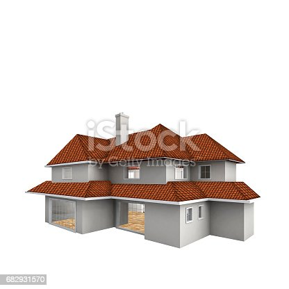 845555910 istock photo House isolated against the white background. Real estate concept. 3d 682931570