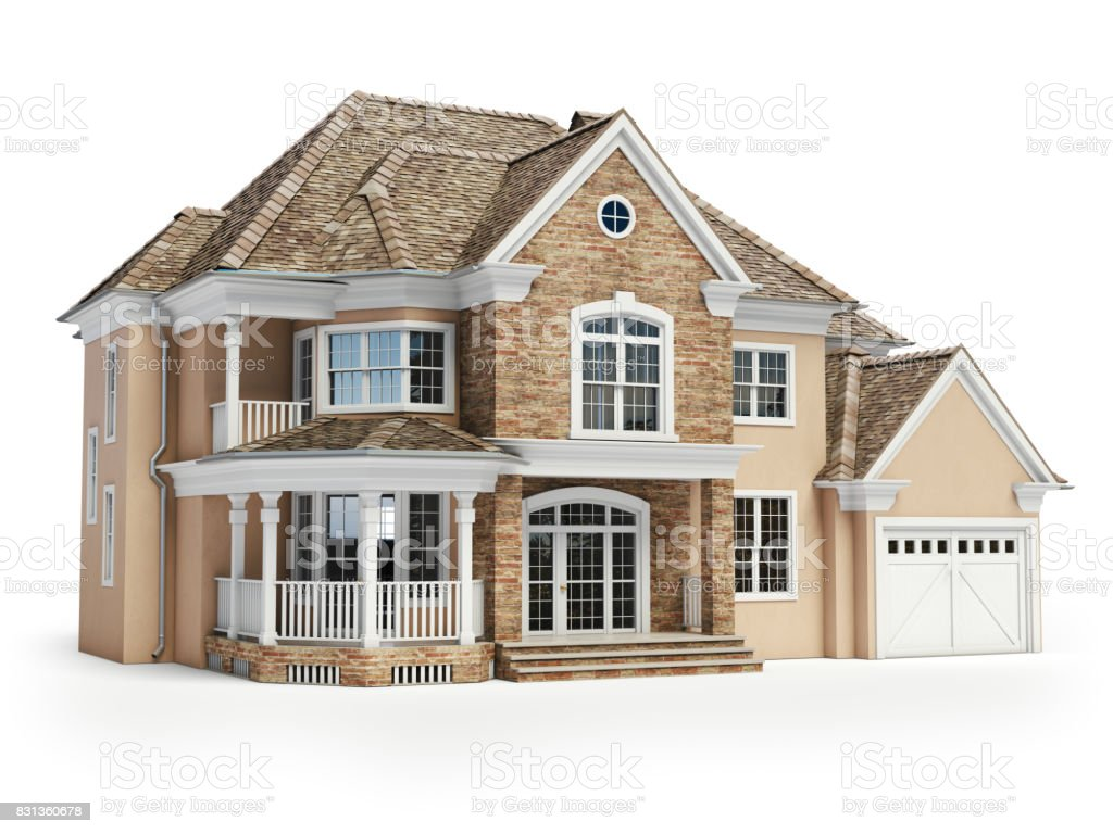 House isolated on white. Real estate concept. 3d stock photo