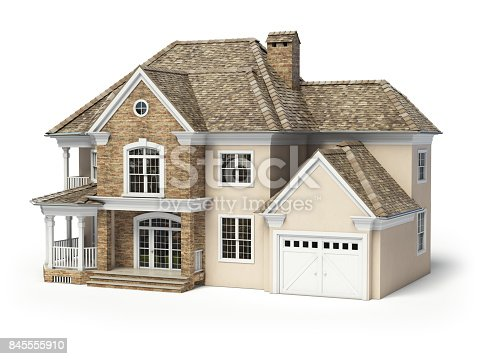 845555910 istock photo House isolated on white. Real estate concept. 3d 845555910