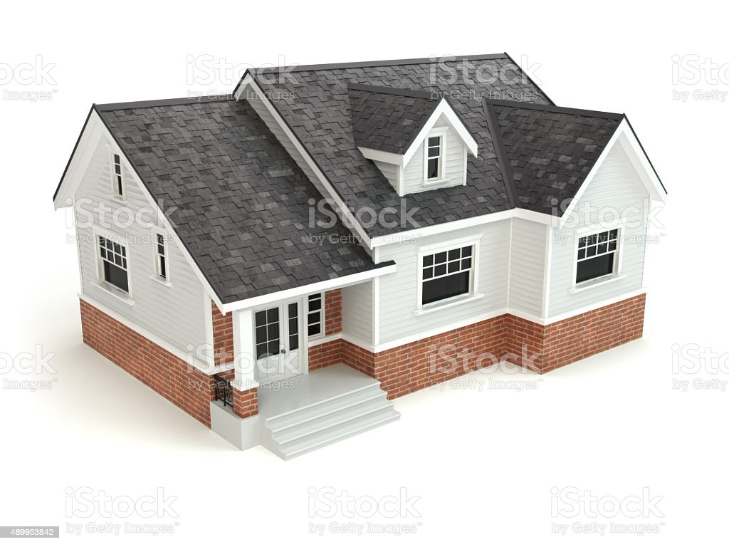 House isolated on white. Real estate concept. stock photo