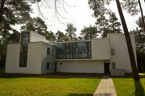 Dessau-Rosslau, Germany – April 4, 2016. View of the House Kandinsky / Klee in Dessau-Rosslau, with grass lawn and trees. The building forms a part of the Masters' Houses. The two artists lived in this building in the 1920s.