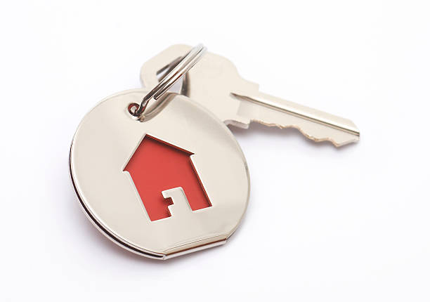 house key and keychain stock photo
