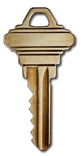 """House Key on white Brass, metal, house key on white background with drop shadow. Actual key, Macro shot with a Hasselbald 39 megapixel camera to capture all detail. Captured size about 18"""". burwellphotography stock pictures, royalty-free photos & images"""