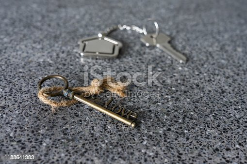 1135927471 istock photo House key with home keyring in on old wood background, copy space 1188641383