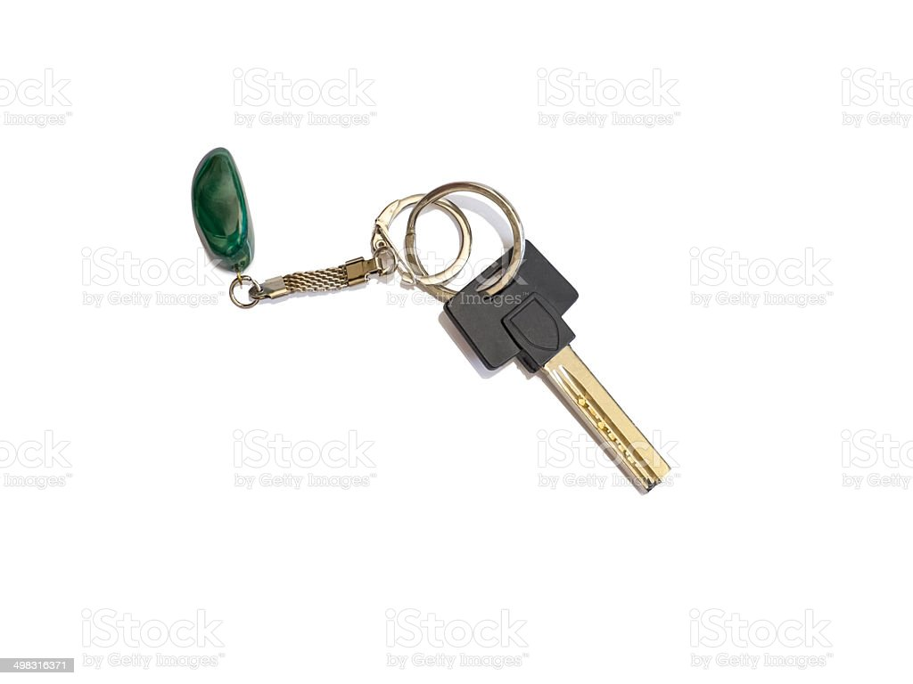 House key with key ring and fob stock photo