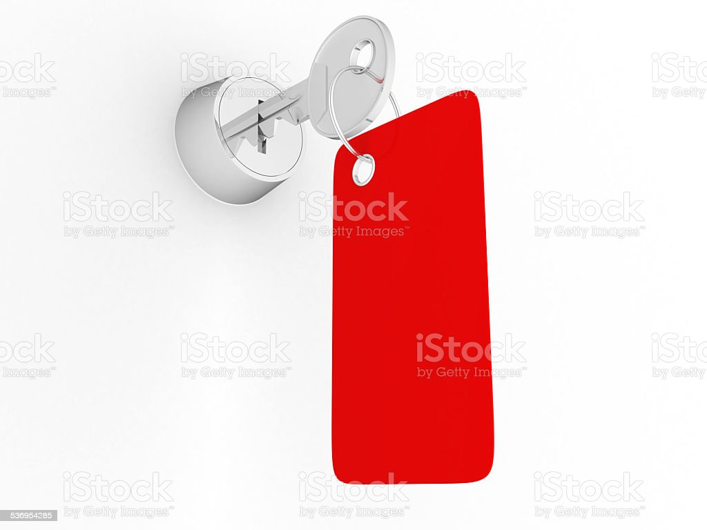 House key with label stock photo