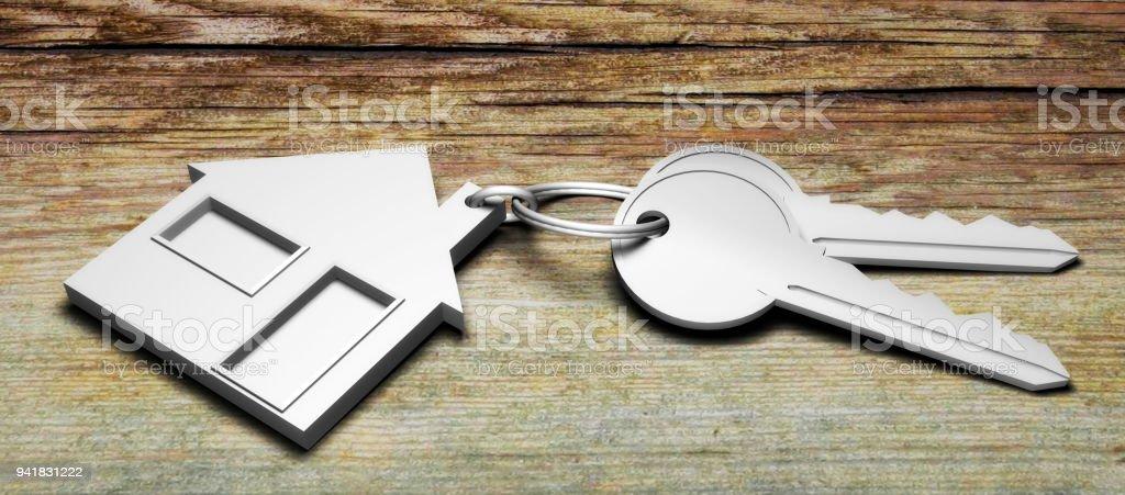 house keys 3D illustration stock photo