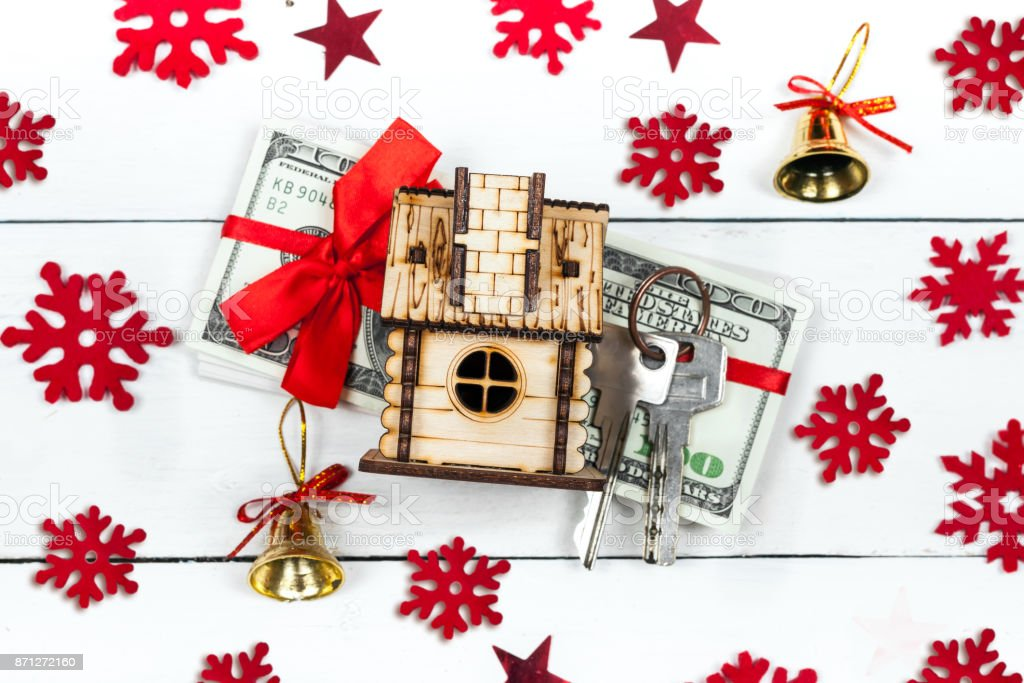 House Keys And A Stack Of Banknotes The Idea Of A Gift For Christmas ...