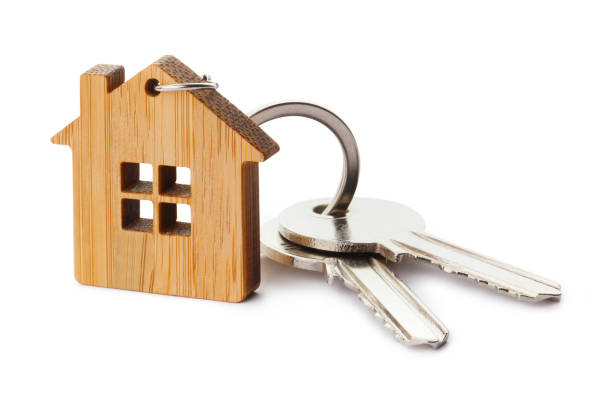 房子鑰匙與房子形狀鑰匙串 - 鎖匙 個照片及圖片檔