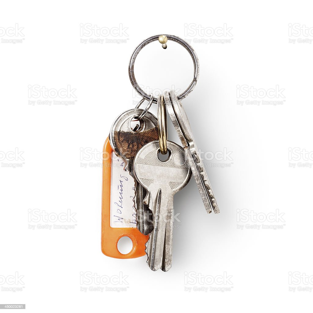 House keys with label stock photo