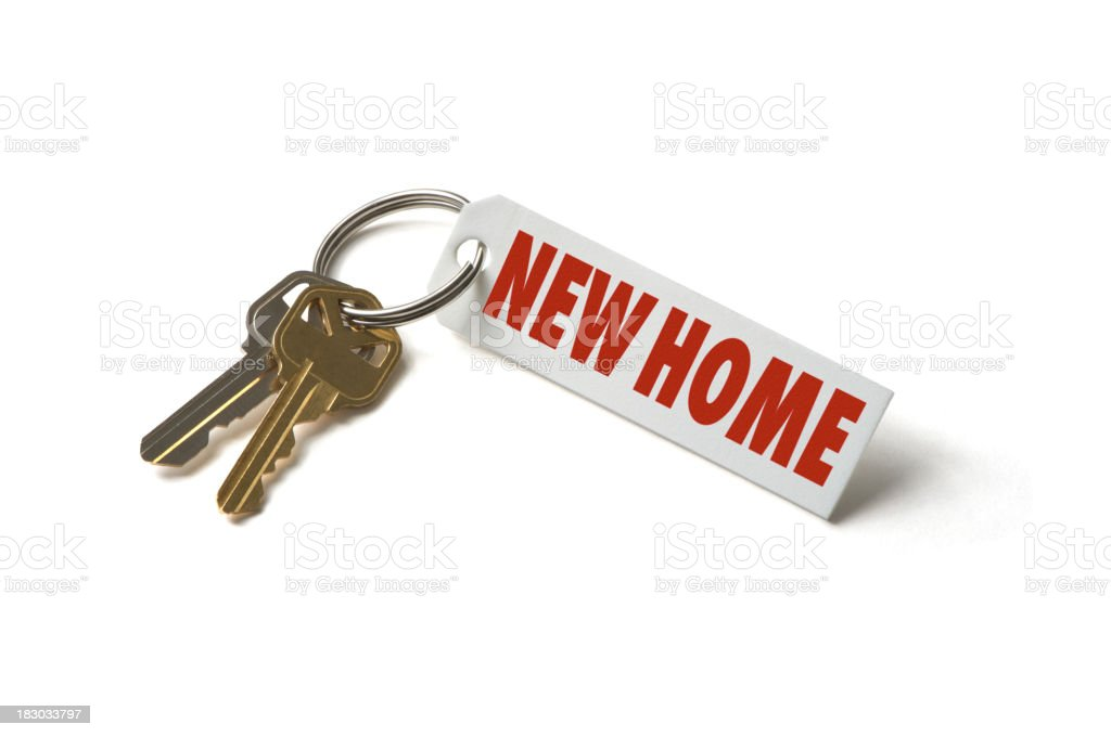 House Keys with New Home Tag Isolated on White Background royalty-free stock photo