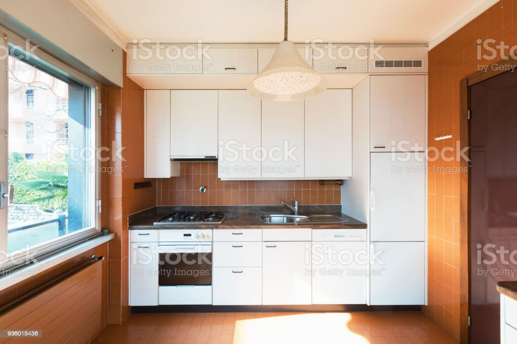 House kitchen to be renovated white stock photo
