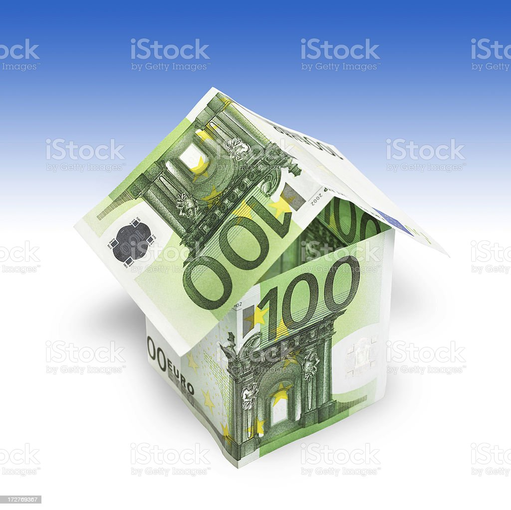 House made from banknotes stock photo
