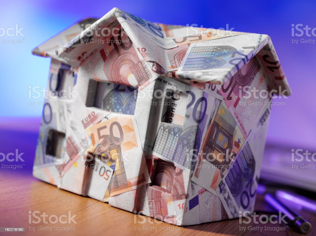 House made from Euro in a Office royalty-free stock photo