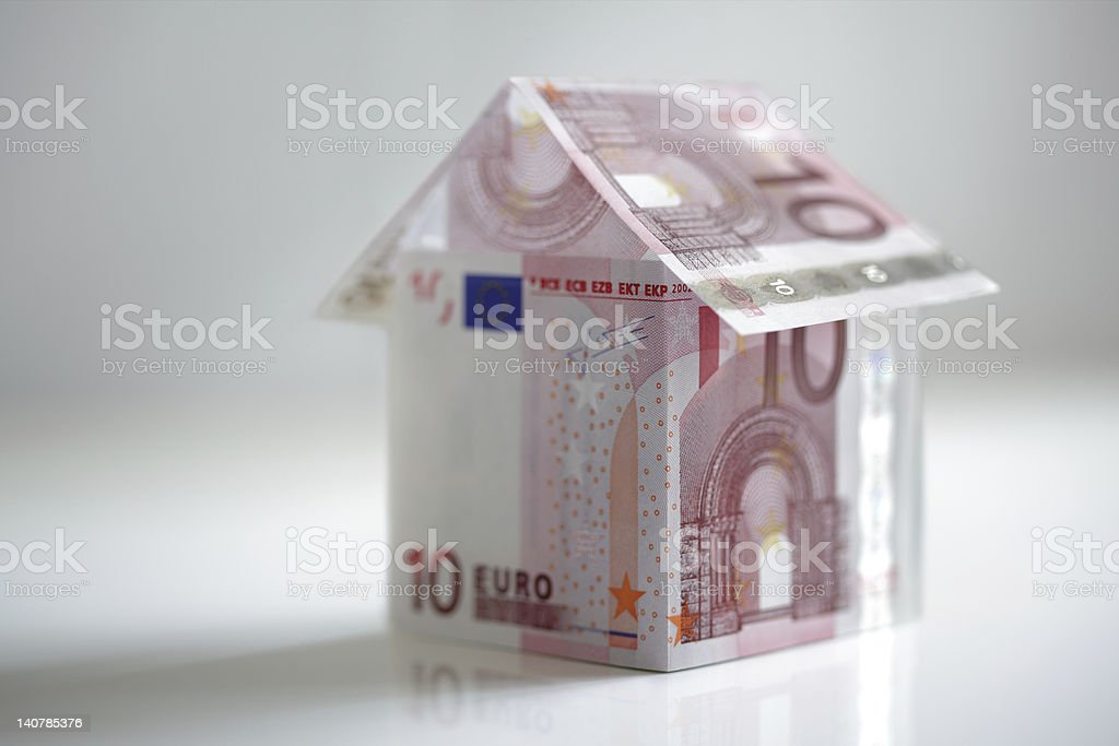 House made from european union currency stock photo