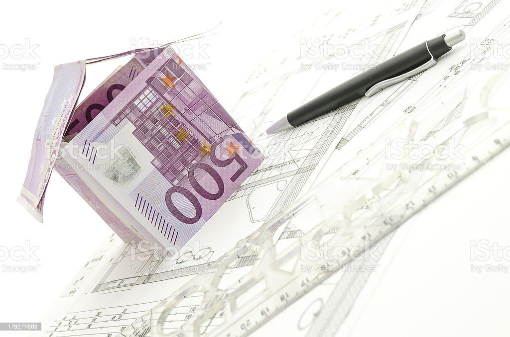 House made of 500 Euro money on blueprint royalty-free stock photo