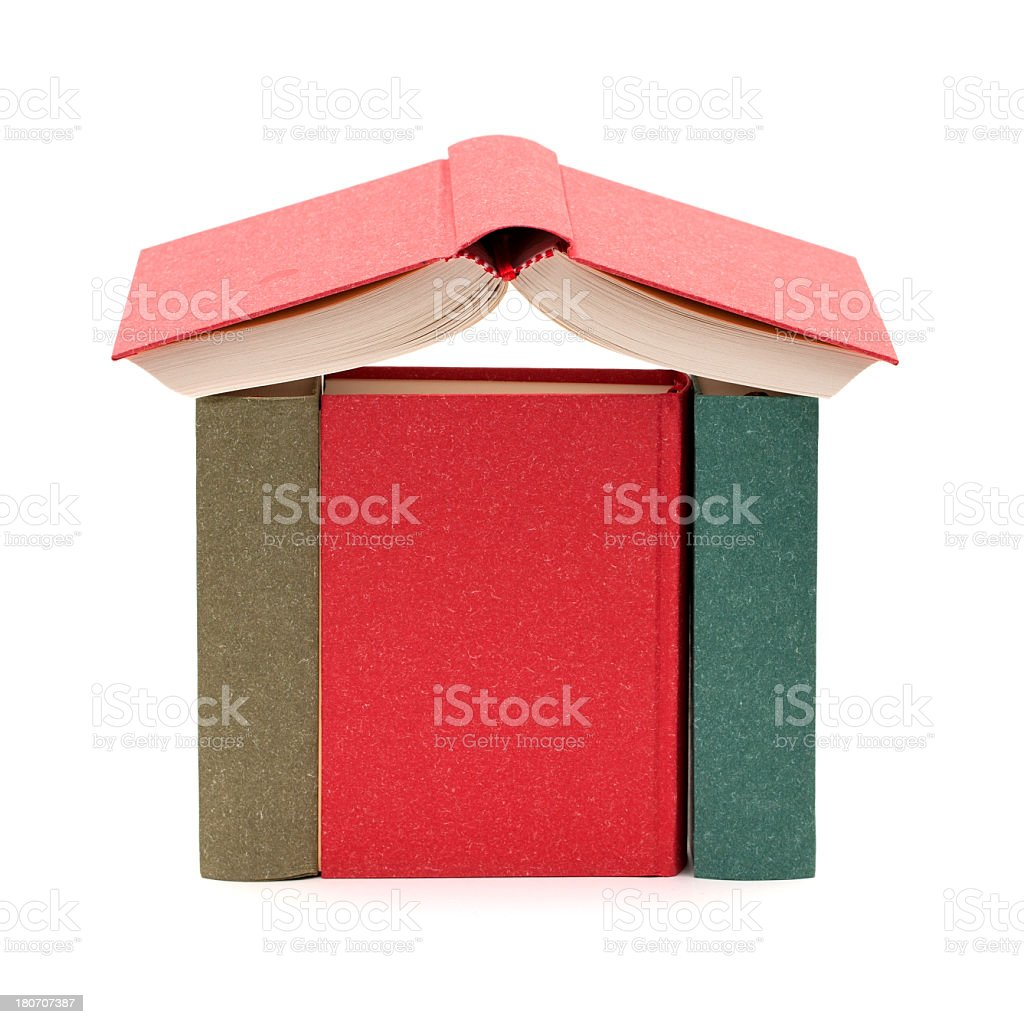 House made of books isolated on white background royalty-free stock photo