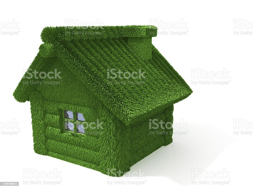 house made of logs with grass royalty-free stock photo