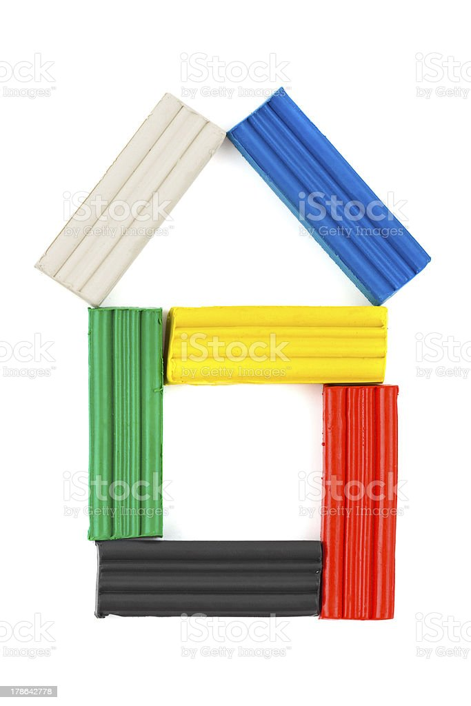 House made of multicolored clay royalty-free stock photo