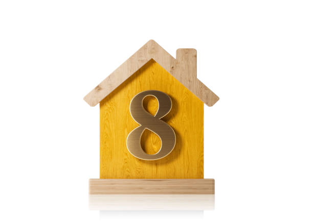 house made of wood with number eight - real estate concept - 8 infographic stock photos and pictures