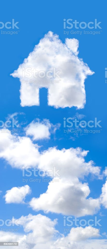 House made out of clouds in the blue sky stock photo