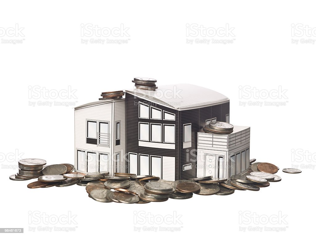 House model and coins royalty-free stock photo