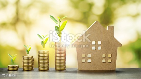 istock House Model and Golden Coins Stacks with blur Background.Savings Plans for Housing,Finance and Banking about House concept. 701198434