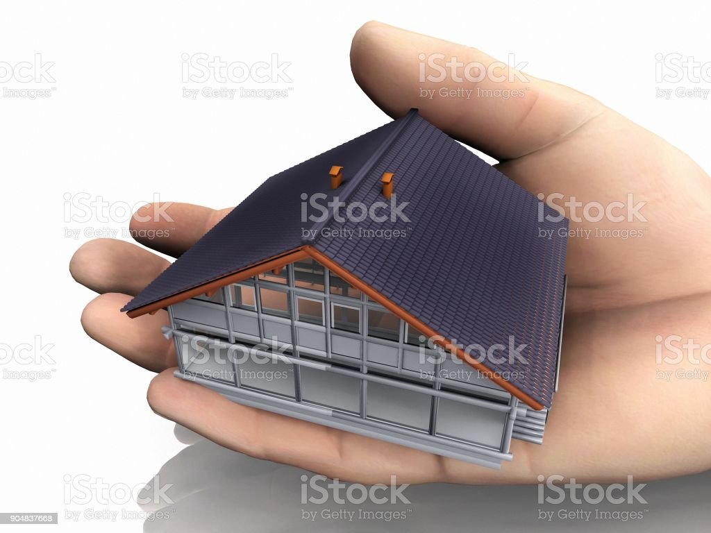 house model in hand stock photo