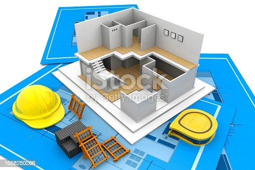istock House model on a blueprint 1058250266