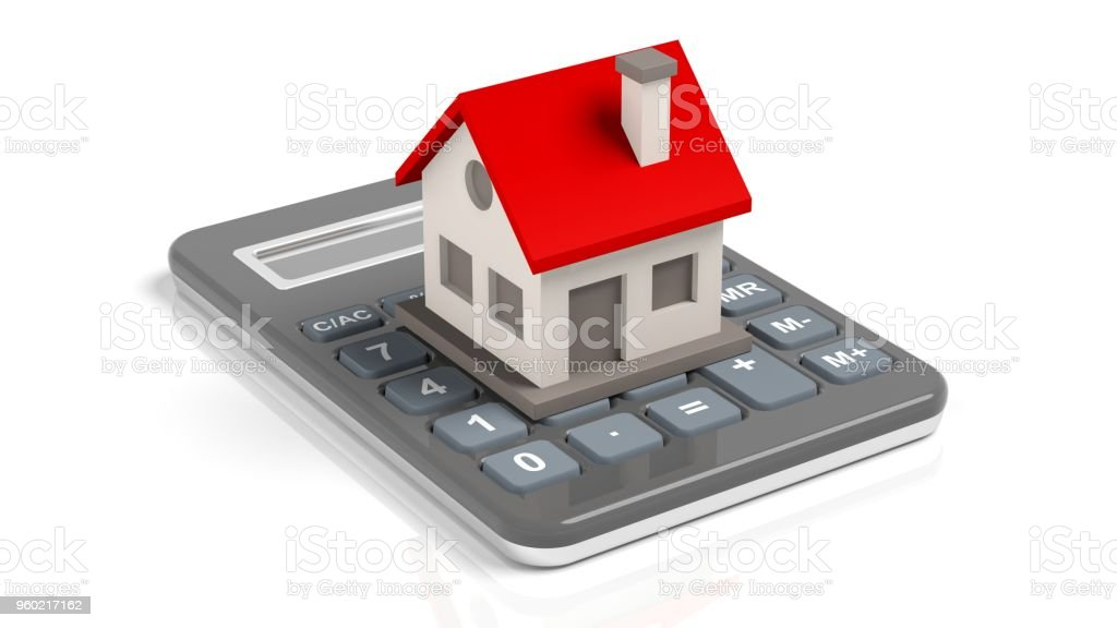 House model on a calculator stock photo