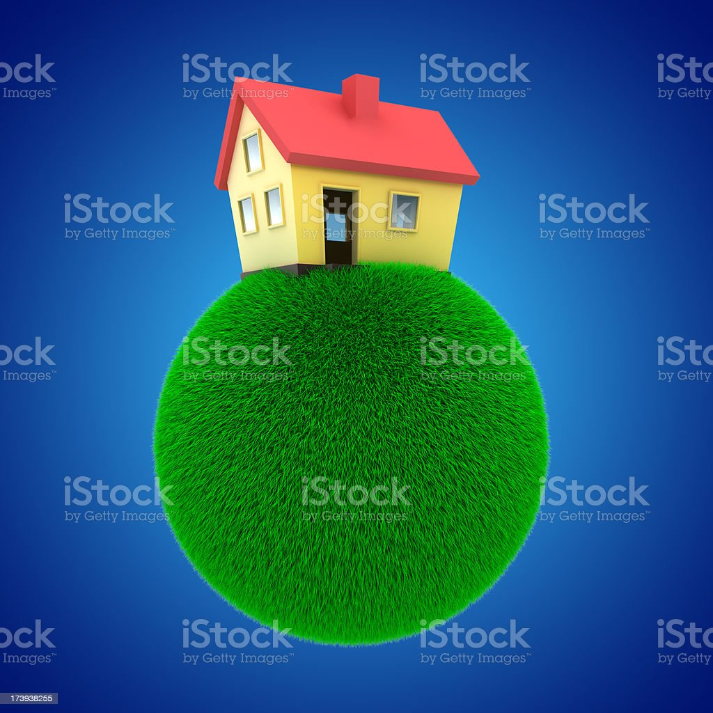 House model on a planet of grass stock photo
