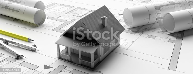 istock House model on blueprints background, engineer contractor office. 3d illustration 1195257362